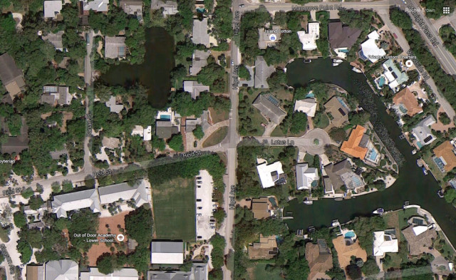 An aerial view shows Lotus Lane and Higel Avenue. Image from Google Maps