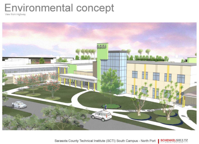 A February rendering shows a potential concept for the North Port Suncoast Technical College campus. Image courtesy Sarasota County Schools