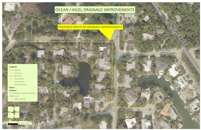 A graphic shows the area of the planned drainage improvements. Image courtesy Sarasota County