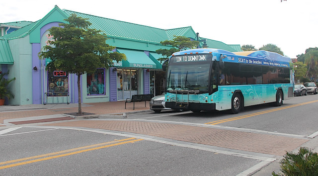 Although SCAT buses that serve Siesta Key have a 'wrap' that distinguishes them from other buses, Siesta businesses long have called for a trolley service. File photo