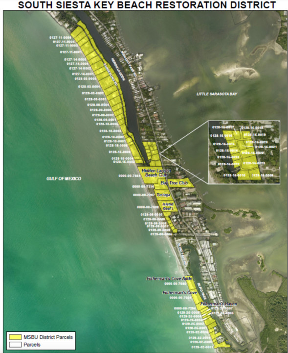 A graphic shows the properties that will be assessed for the renourishment project. Image courtesy Sarasota County