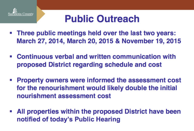 A chart lists efforts to inform the public about the project. Image courtesy Sarasota County