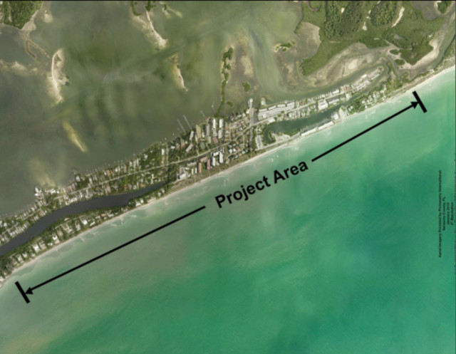 An aerial map shows the location of the South Siesta Renourishment Project. Image courtesy Sarasota County