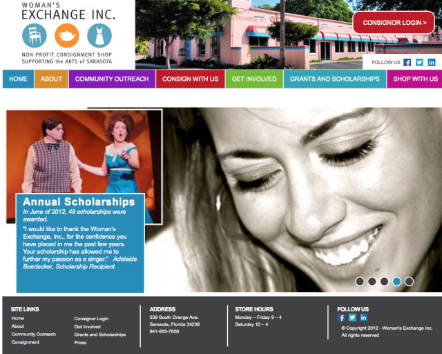 The homepage of the Woman's Exchange website points out its contributions to the arts. Image from the website