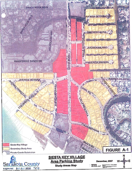 A graphic from the 2008 parking study shows spaces in and adjacent to the Village. Image courtesy Sarasota County
