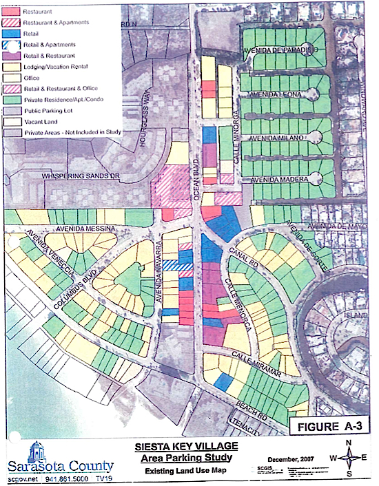A graphic from the 2008 study shows parking spaces according to business types. Image courtesy Sarasota County
