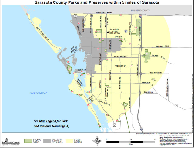 A map shows county parks and preserves within 5 miles of the City of Sarasota. Image courtesy Sarasota County