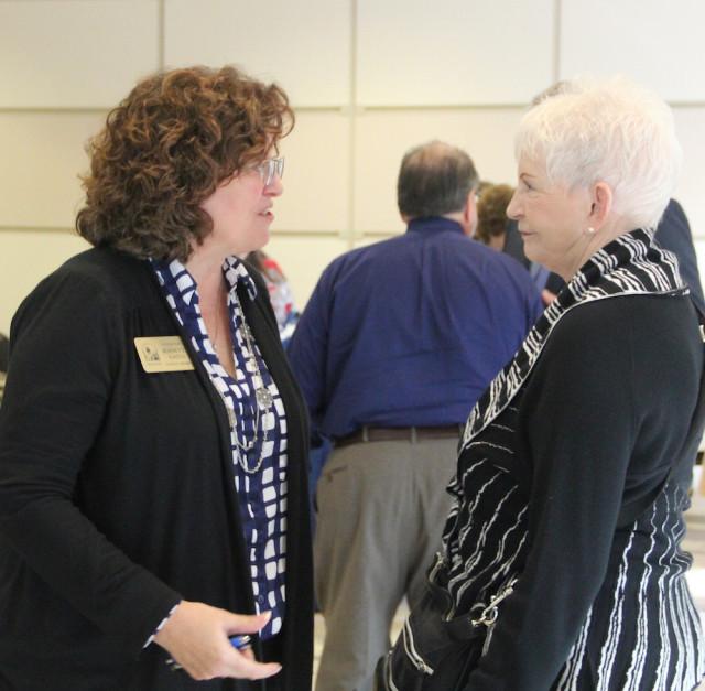 Venice City Councilwoman Jeanette Gates (left) talks with School Board member Caroline Zucker. Rachel Hackney photo