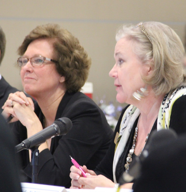 Superintendent Lori White (left) and School Board Chair Shirley Brown. File photo