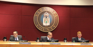 (From left) Commissioners Paul Caragiulo, Al Maio and Charles Hines. Rachel Hackney photo
