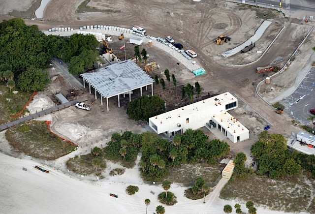 An aerial view taken in December shows the historic pavilion (left) and the new Public Safety Building during construction. Image courtesy Sarasota County
