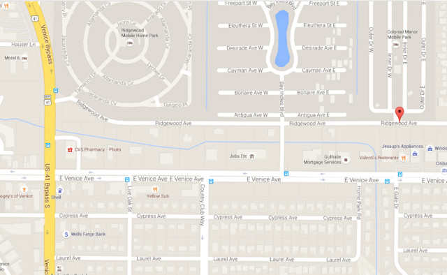 A map shows Ridgewood Avenue and the U.S. 41 Venice By-Pass. Image from Google Maps