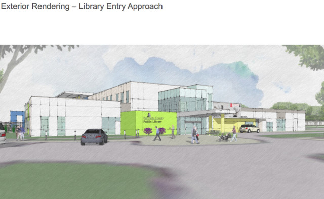 A rendering shows the side of the North Port STC with the new library. Image courtesy Sarasota County Schools