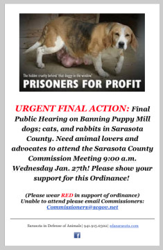 Sarasota in Defense of Animals has sent this notice to supporters. Image courtesy Sarasota in Defense of Animals