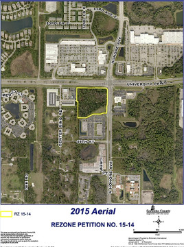 An aerial map shows the site proposed for the new Whole Foods and a Wawa. Image courtesy Sarasota County