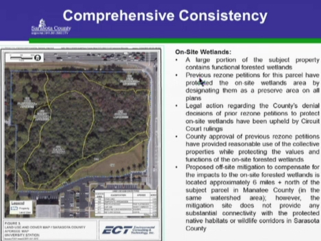 A slide shows the wetlands and offers details about language in the Comprehensive Plan. Image courtesy Sarasota County