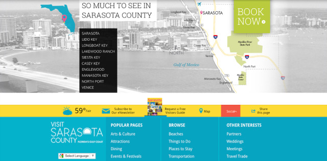 The Visit Sarasota County website offers a plethora of information. Image from the website on Jan. 25