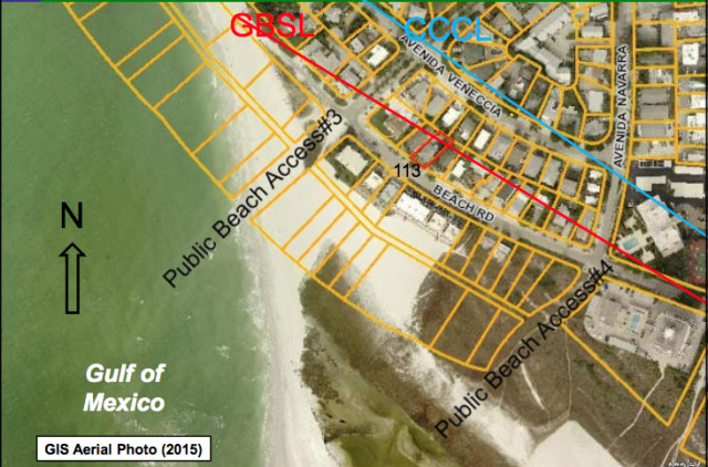 A graphic shows the location of the 113 Beach Road parcel on north Siesta Key in September 2015. Image courtesy Sarasota County