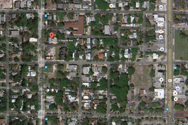 An aerial map shows the location of the house in downtown Sarasota. Image from Google Maps