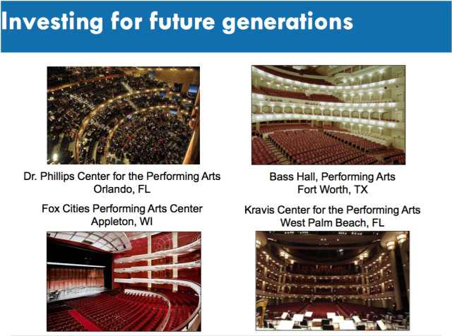 The Feb. 22 presentation included photos of performing arts halls that serve purposes comparable to the Van Wezel's. Image courtesy City of Sarasota