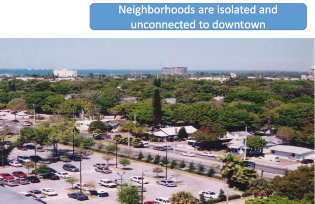 A November 2015 presentation prepared for the public shows Fruitville Road running through downtown Sarasota. Image courtesy City of Sarasota