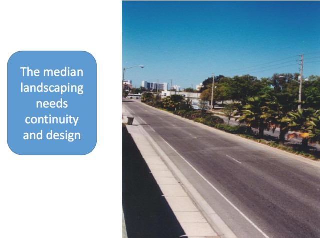 A city-commissioned study of Fruitville Road also noted the inconsistent landscaping. Image courtesy City of Sarasota