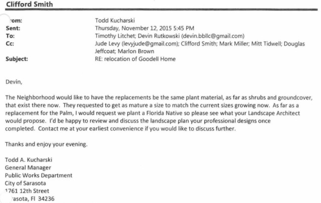 City staff wrote this email to the previous co-owner of the house. Image courtesy City of Sarasota