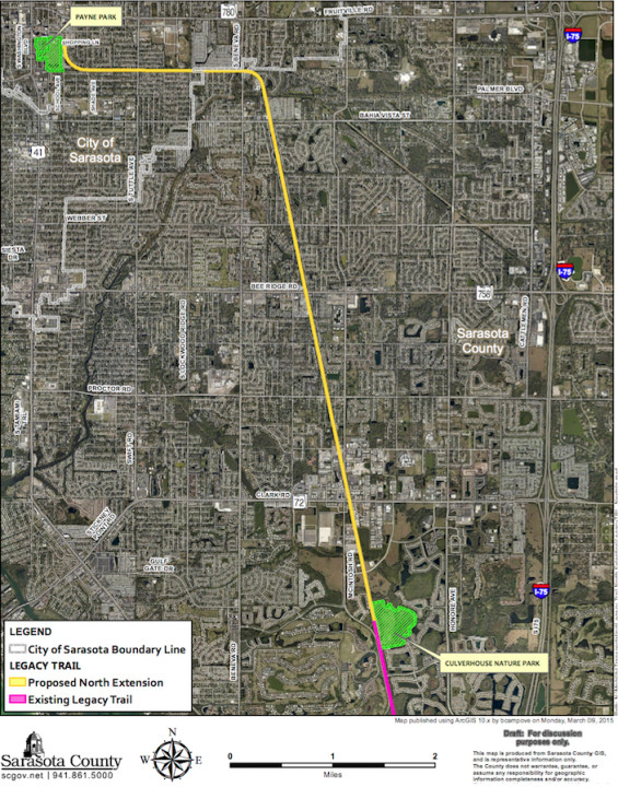 A graphic shows the course of the planned northern extension. Image courtesy Sarasota County