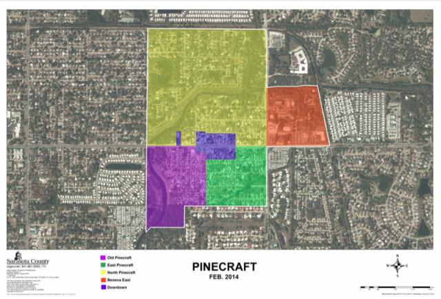A recent graphic shows development around Pinecraft. image courtesy Sarasota County