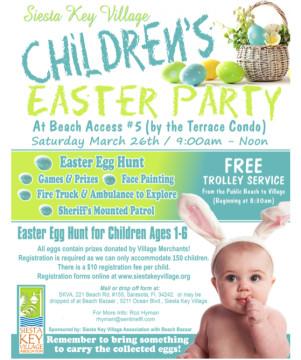 A flyer offers details about the Easter Egg Hunt & Games. Image courtesy Siesta Key Village Association