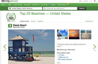 TripAdvisor list puts Siesta at No. 3. Image from the TripAdvisor website