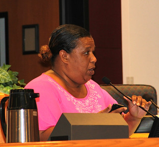 Valerie Guillory speaks to the County Commission in 2014. File photo