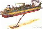 A drawing shows how a dredge hopper works. Image courtesy Carteret County Government, N.C.