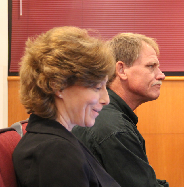 Parks, Recreation and Natural Resources Director Carolyn Brown and department Manager George Tatge await the start of a County Commission discussion on March 23. Rachel Hackney photo