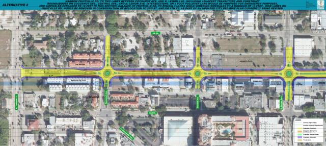 City staff favors Alternative Two for Fruitville Road. Image courtesy City of Sarasota