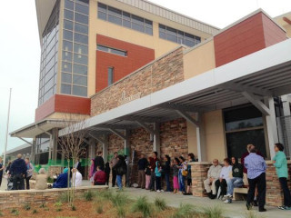 Patrons await the opening of the new Gulf Gate Library in 2015. Photo courtesy Sarasota County