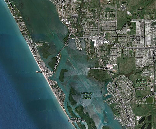 An aerial shows Manasota Key in south Sarasota County. Image from Google Maps