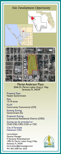 Marian Anderson Place is featured in a city brochure touting opportunities in Newtown. Image courtesy City of Sarasota
