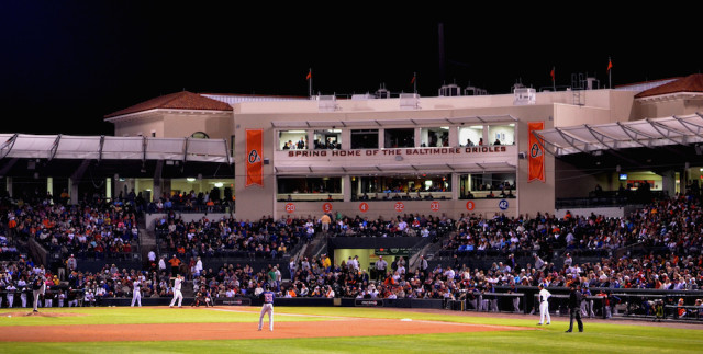 The Orioles play the Red Sox at Ed Smith Stadium. File photo