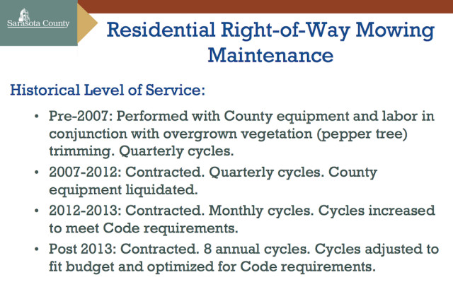 A graphic shows changes in service over the years. Image courtesy Sarasota County