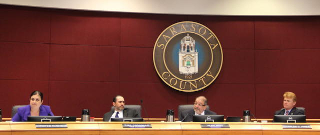 (From left) Commissioners Christine Robinson, Paul Caragiulo, Al Maio and Charles Hines. Rachel Hackney photo