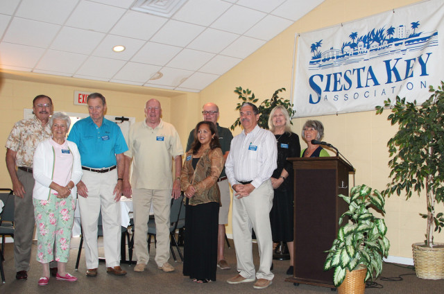 The officers and directors of the Siesta Key Association gather after their introductions during the annual breakfast meeting on March 5. Rachel Hackney photo