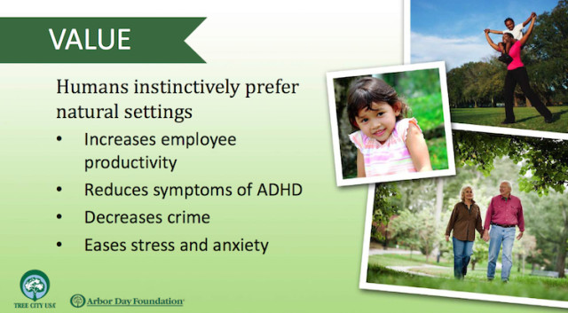 The Arbor Foundation lists numerous benefits of trees in a community. Image from the Foundation website