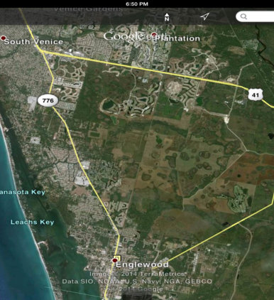 A map shows the West Villages property in South Sarasota County. Image from the West Villages website