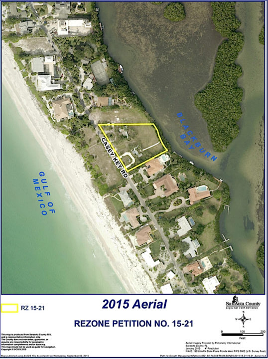 An aerial view shows the property at 3000 Casey Key Road. Image courtesy Sarasota County
