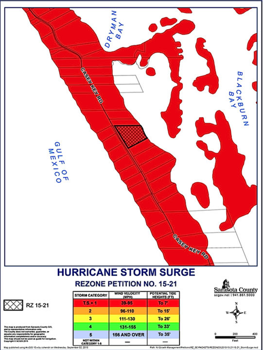 A graphic shows the Casey Key property in the hurricane storm surge zone. Image courtesy Sarasota County