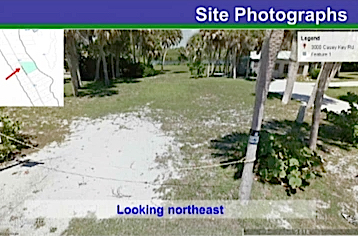 A county staff photo shows the property, looking to the northeast. One structure is visible in the upper right corner. Image courtesy Sarasota County