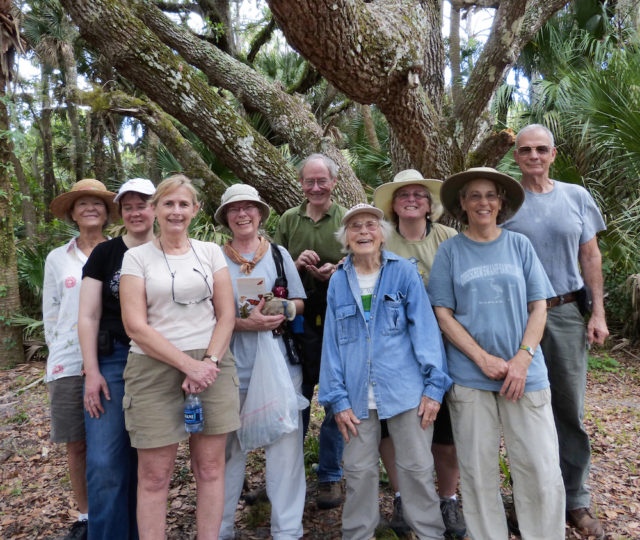 Members of the Serenoa Chapter of the Florida Native Plant Society assemble, including Dr. Mary Jelks (center, front). Photo by Fran Palmeri