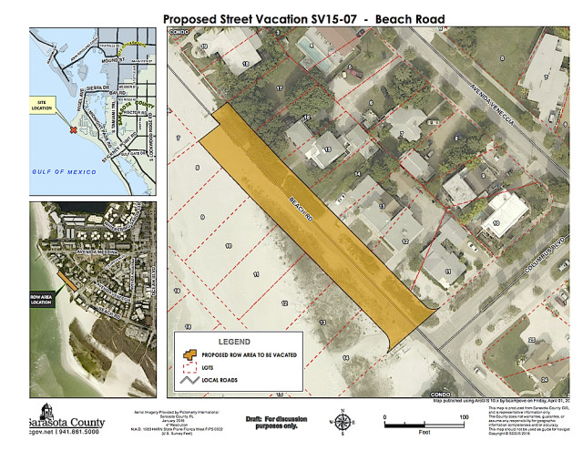 A graphic shows the segment of North Beach Road that the County Commission voted to abandon. Image courtesy Sarasota County