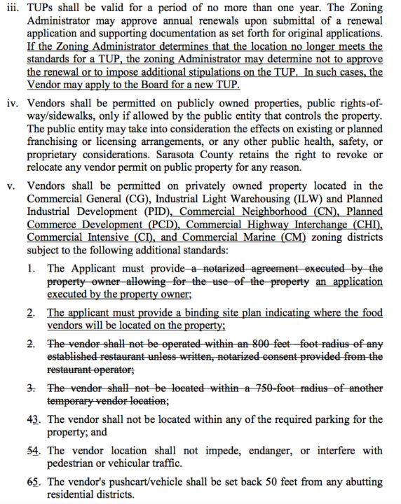 A section of the proposed ordinance eliminates some existing provisions and adds new ones. Image courtesy Sarasota County